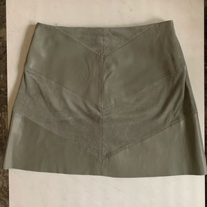 Green Zara Faux Leather & Suede Skirt